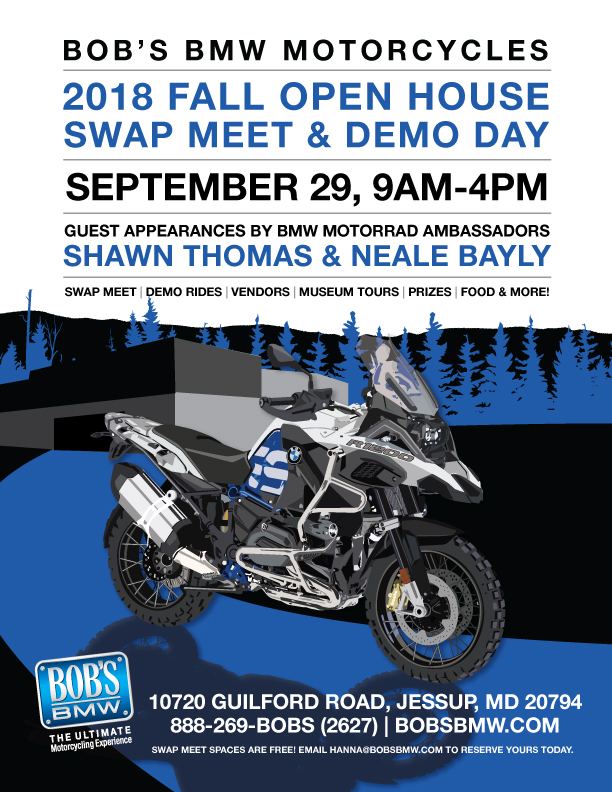 Bobs BMW Fall Open House, Demo Day, and Swap Meet - September 29 9AM to 4PM